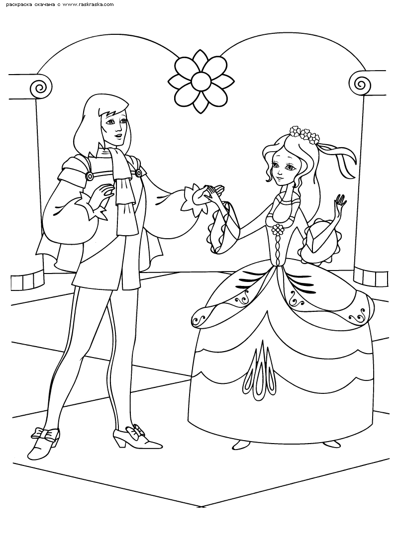Раскраска Принц и Золушка. Раскраска Раскраски Золушка, раскраски из отечественных мультфильмов скачать распечатать