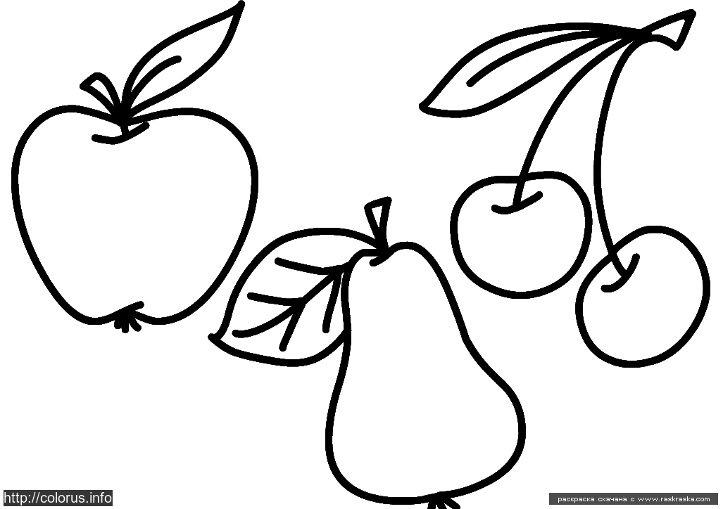 Раскраска Фрукты | Раскраски для малышей. Простые раскраски.