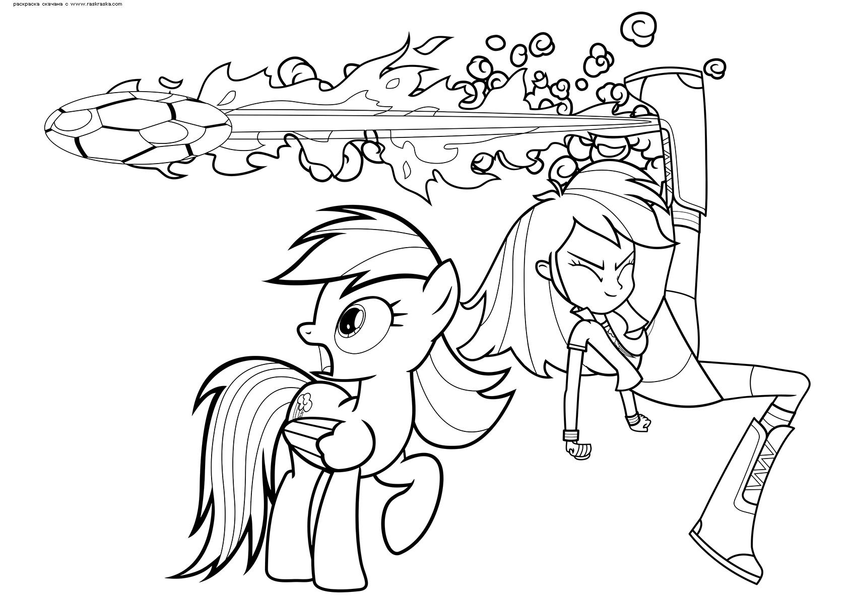 Раскраска Пони Радуга Дэш и девочка Радуга Дэш | Раскраски ...