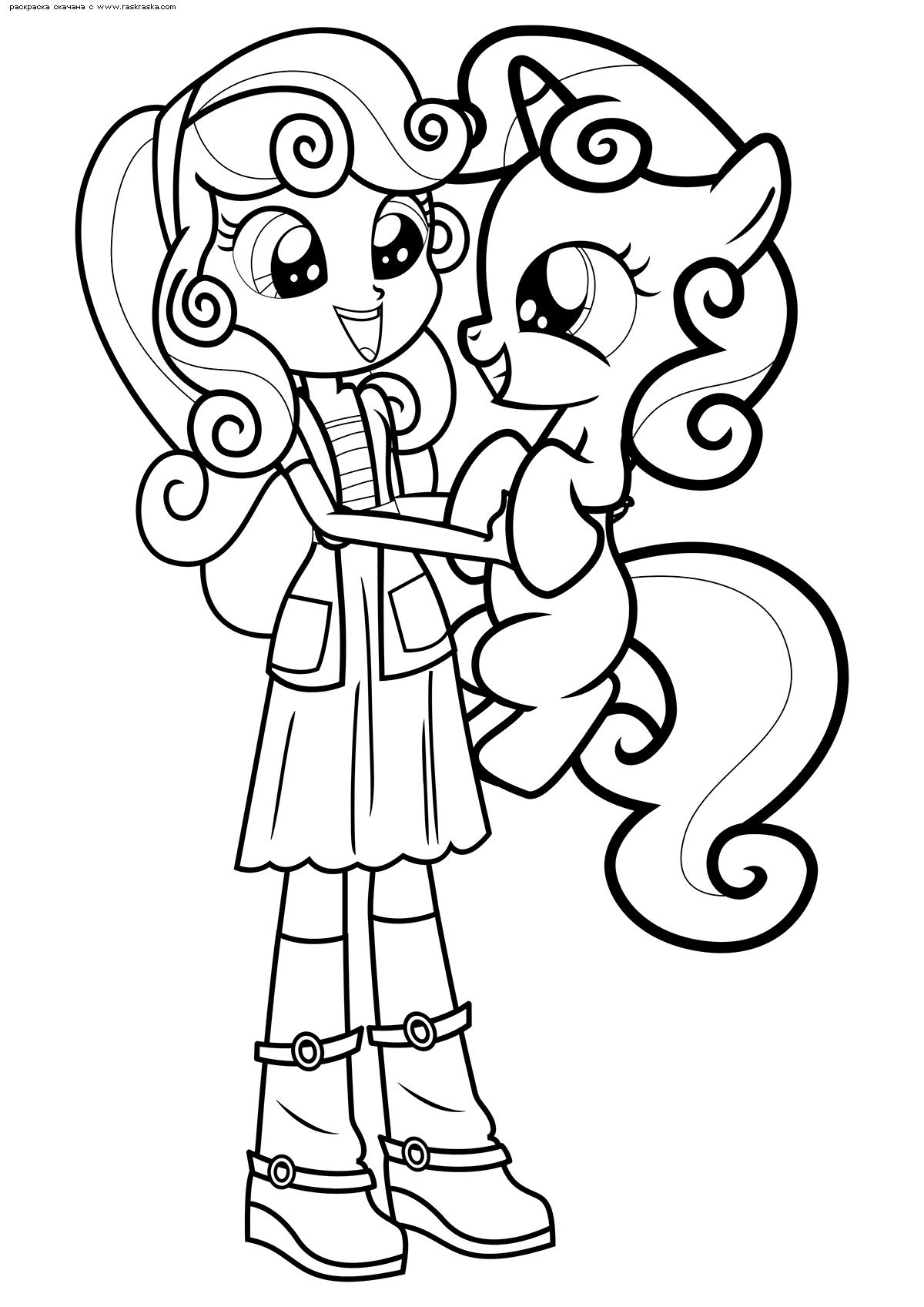 Раскраска Пони Крошка Бель и девочка Крошка Бель ...