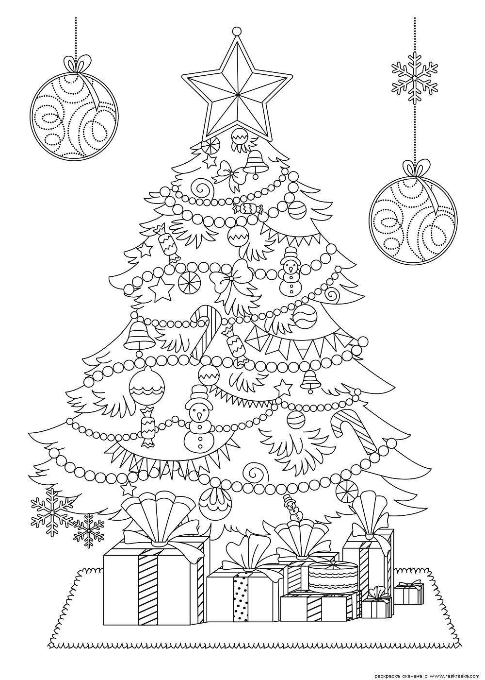 Раскраска Красивая новогодняя елка. Раскраска елка