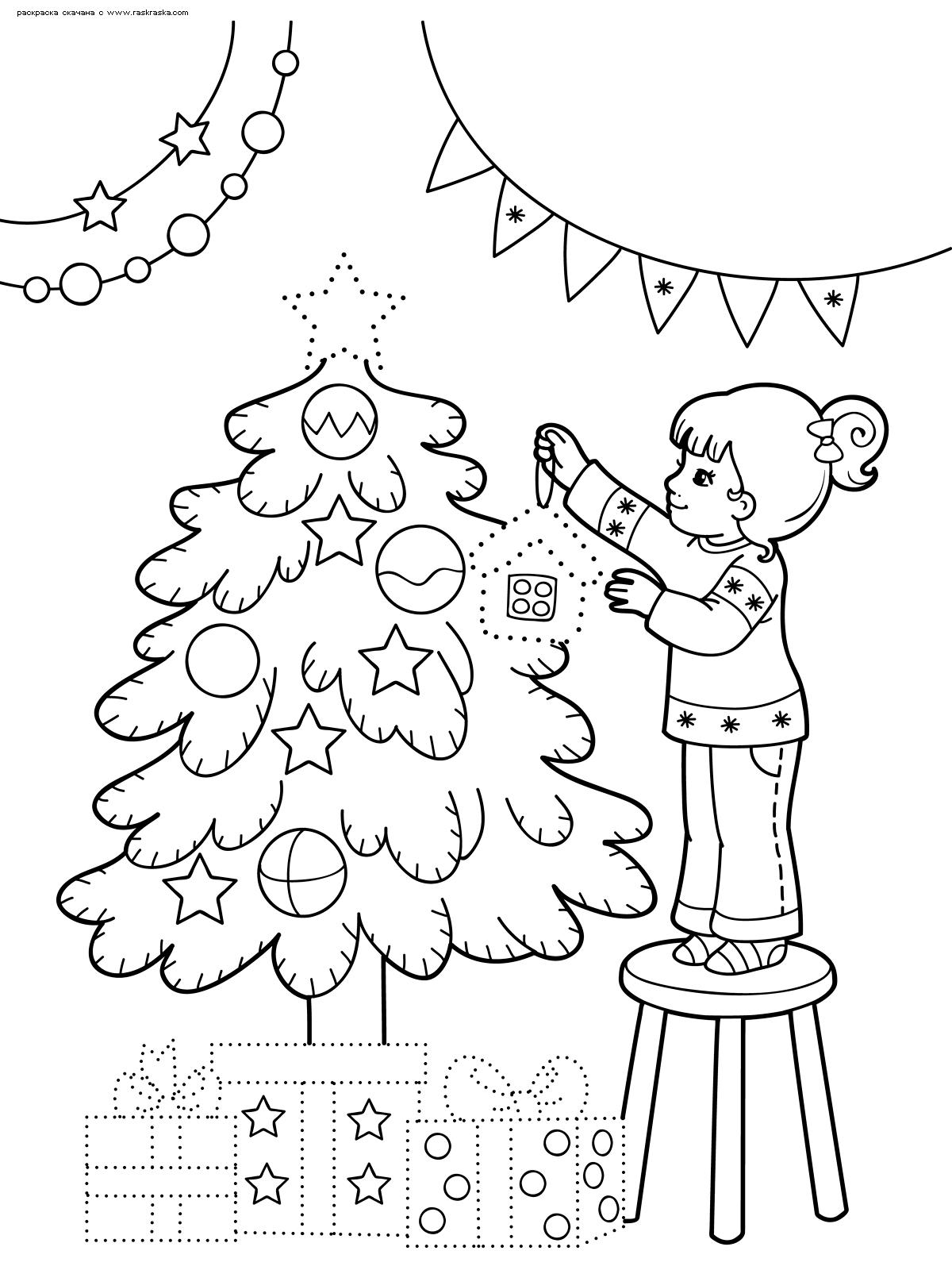 Раскраска Девочка наряжает елку. Раскраска елка, девочка, новый год
