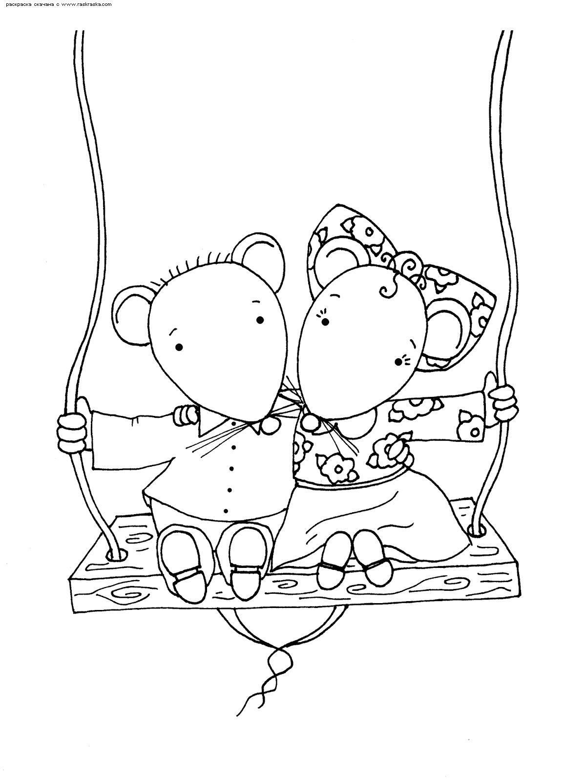 Раскраска Мышки на качелях. Раскраска мышка, мышь, крыса