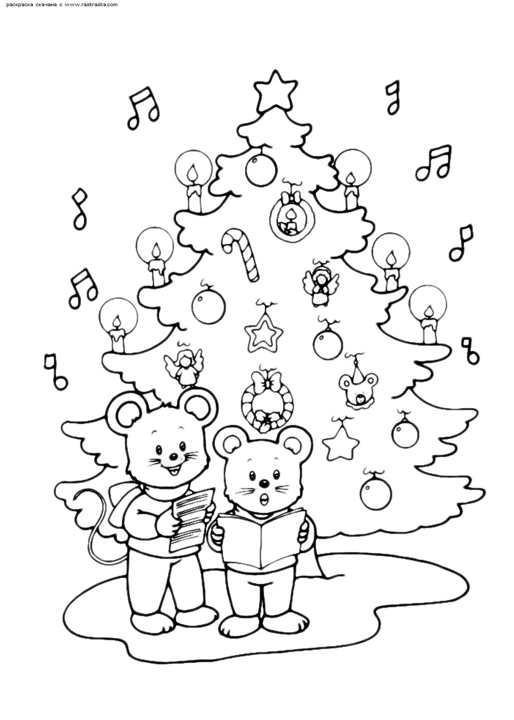 Раскраска Мышки у елка | Раскраски мышей, символа 2020 ...