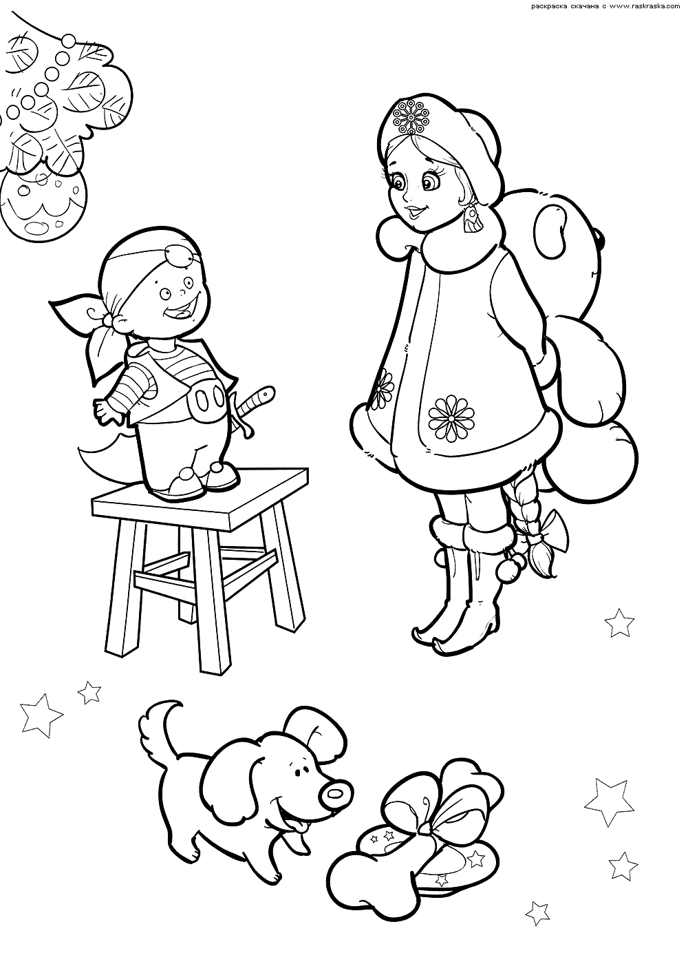 Раскраска Снегурочка дарит подарки. Раскраска снегурочка, малыш, новый год, подарки