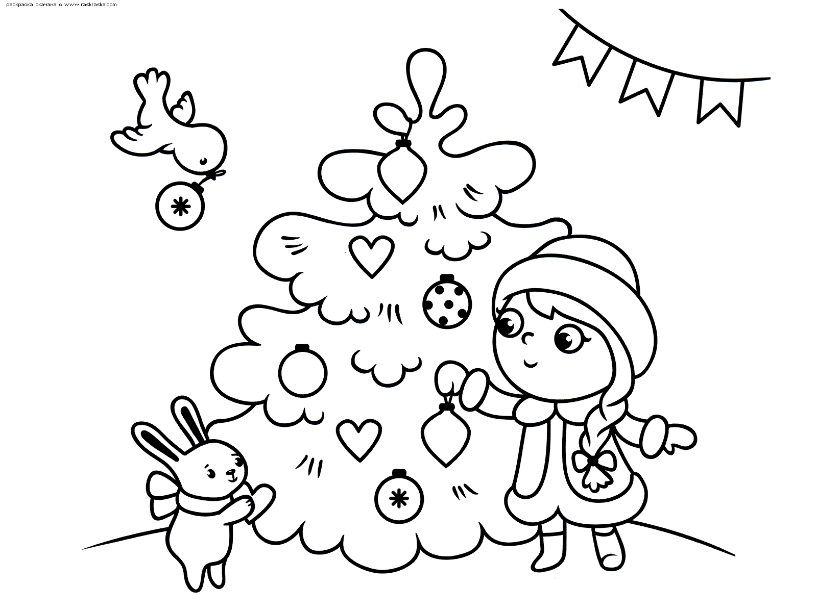 Раскраска Снегурочка у Елки. Раскраска снегурочка, елка, заяц