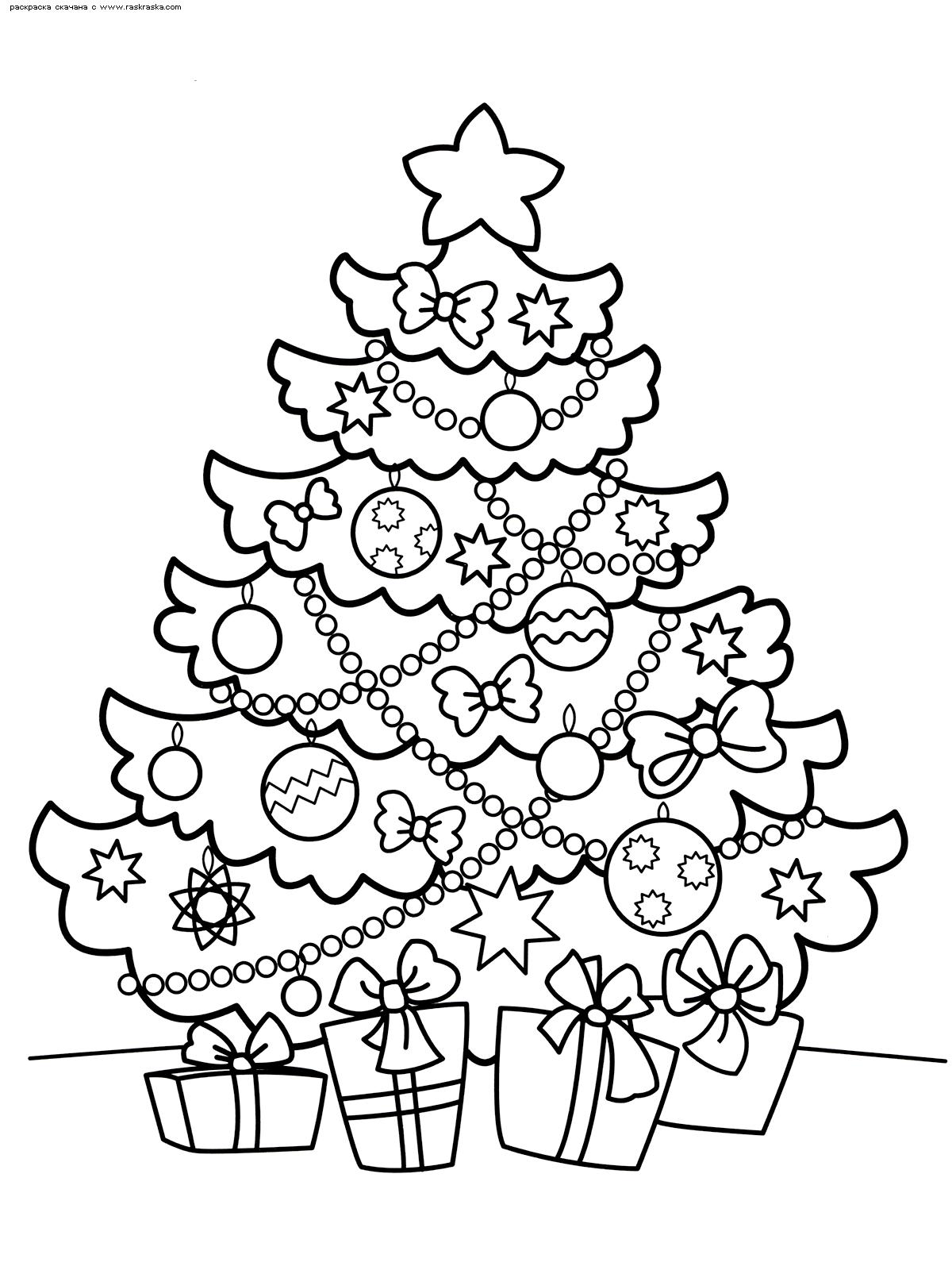 Раскраска Красивая елка. Раскраска елка