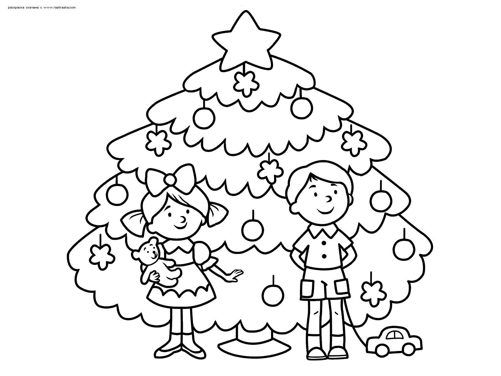 Раскраска Дети у елки. Раскраска елка, дети, подарки, новый год