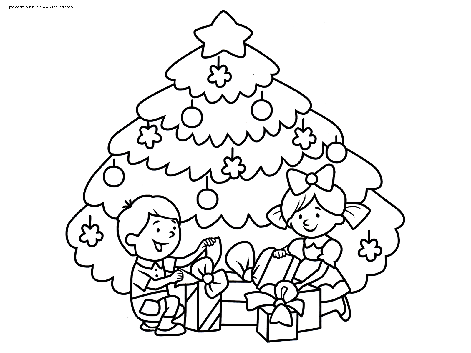Раскраска Подарки у елки. Раскраска елка, дети, подарки, новый год