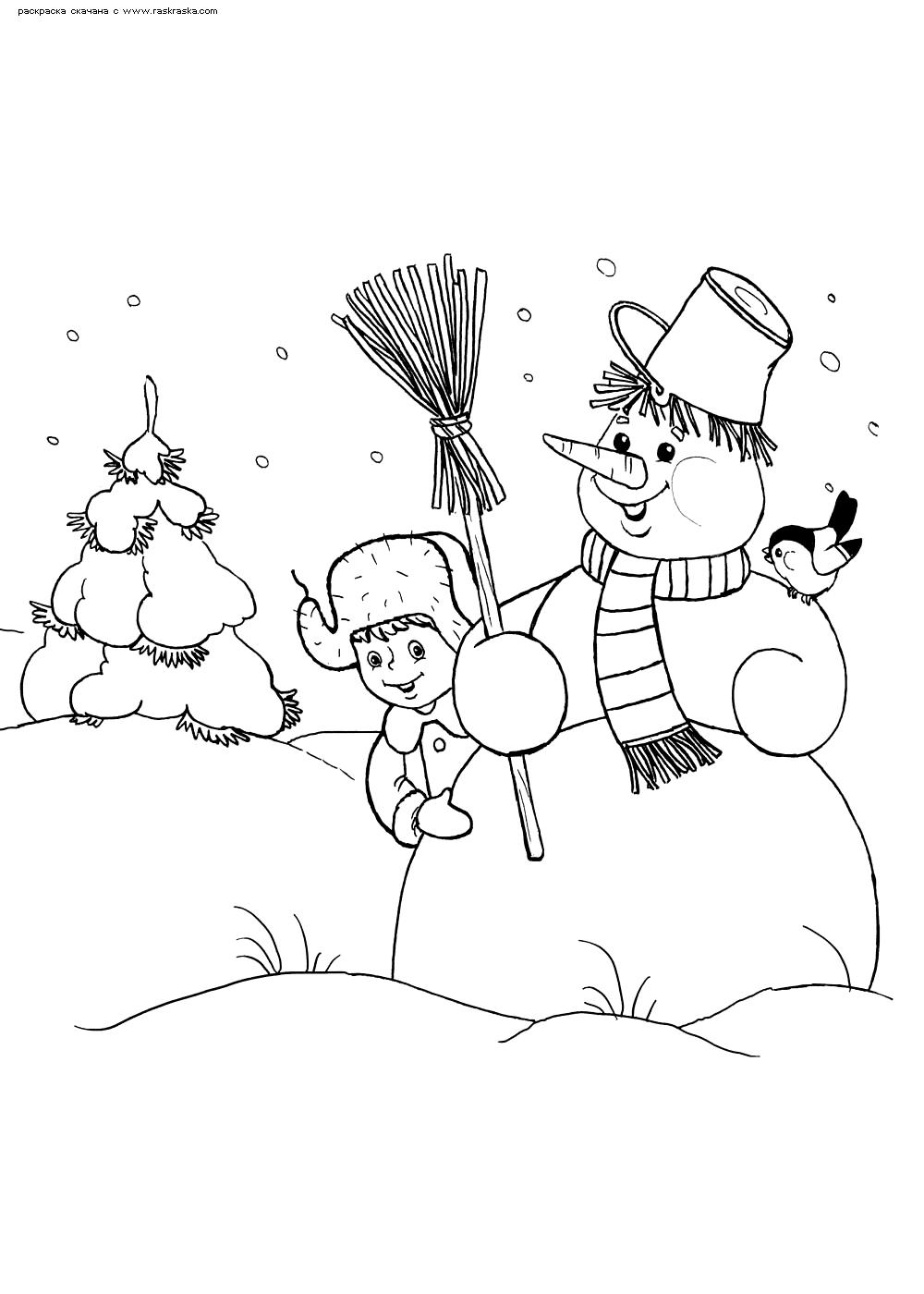 Раскраска Снеговик в зимнем лесу. Раскраска снеговик, зима