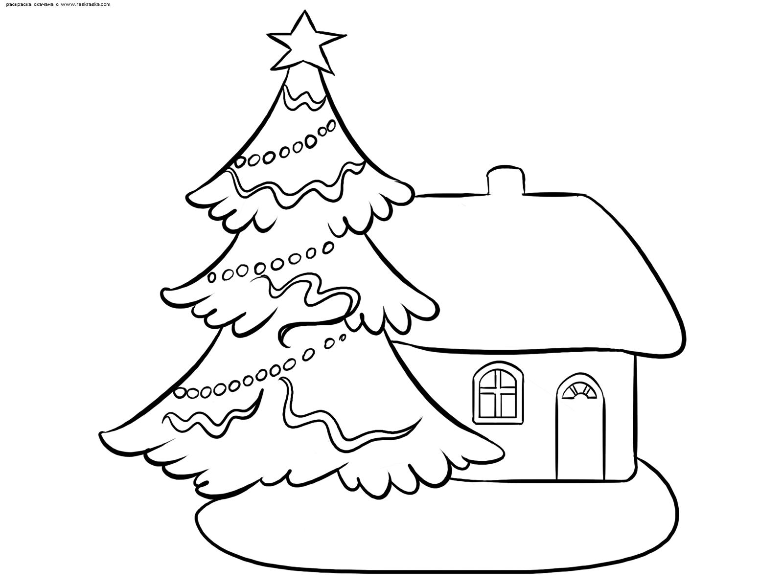 Раскраска Зимний дом и новогодняя елка. Раскраска зима, дом, елка