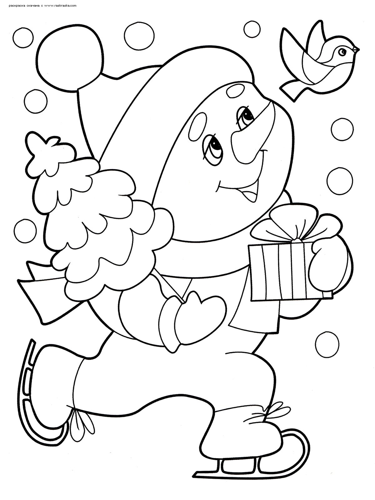 Раскраска Снеговик с подарком. Раскраска снеговик, новый год, зима