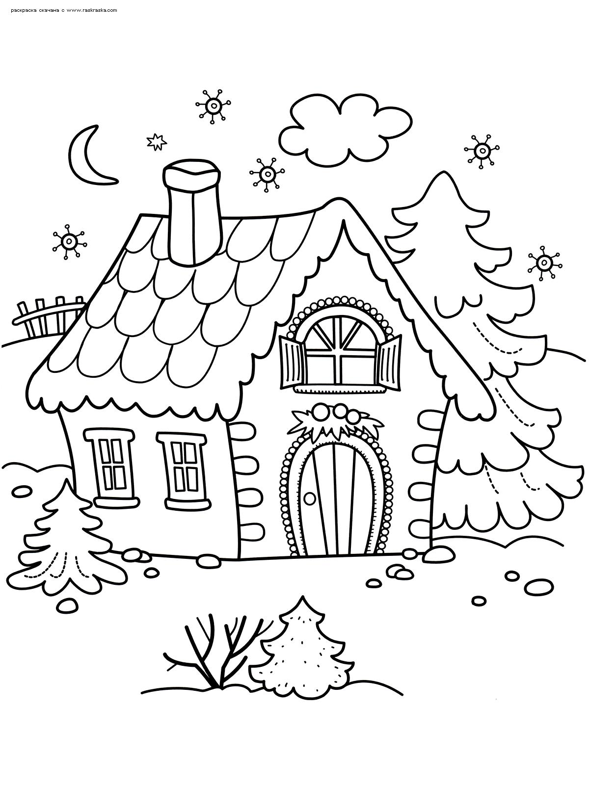 Раскраска Зимний домик. Раскраска зима, дом, елка