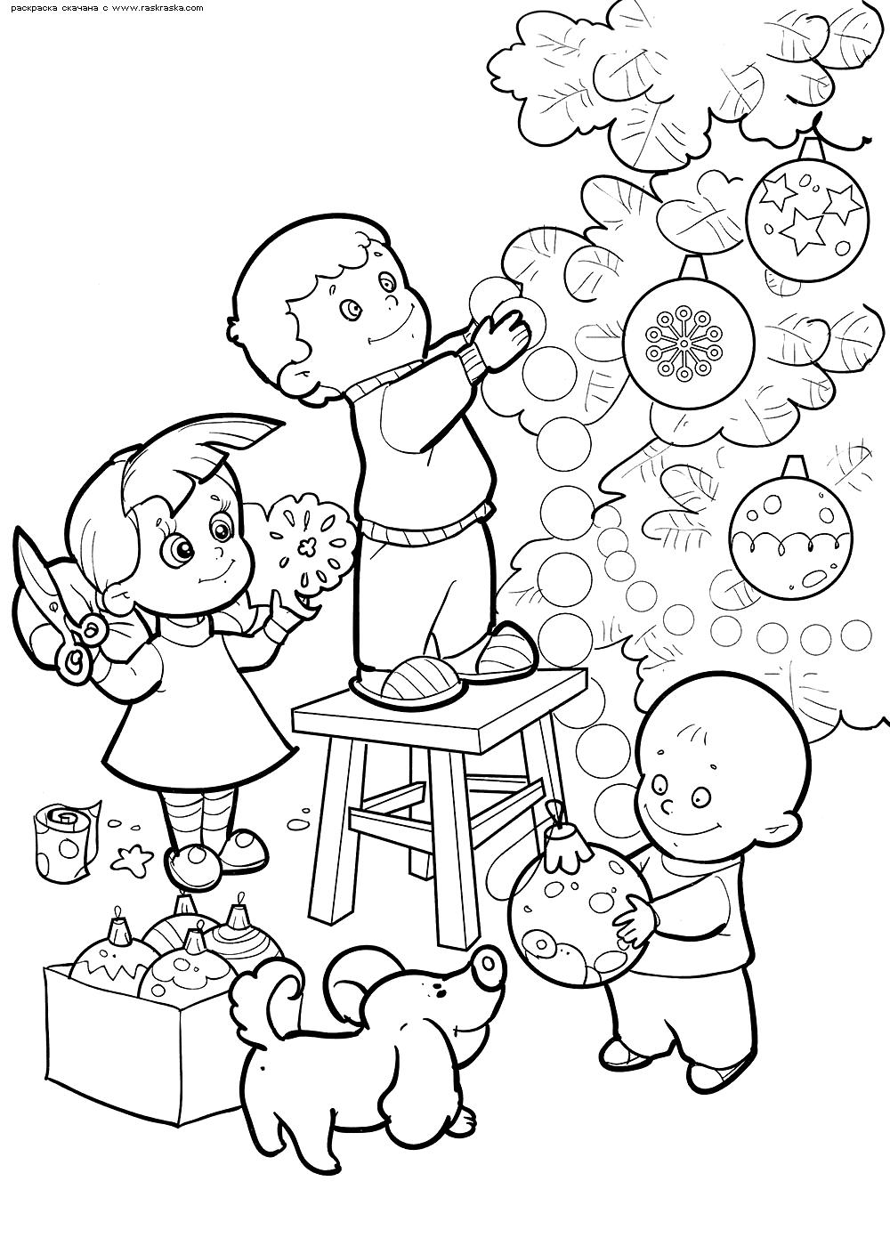 Раскраска Дети украшают елку. Раскраска новый год