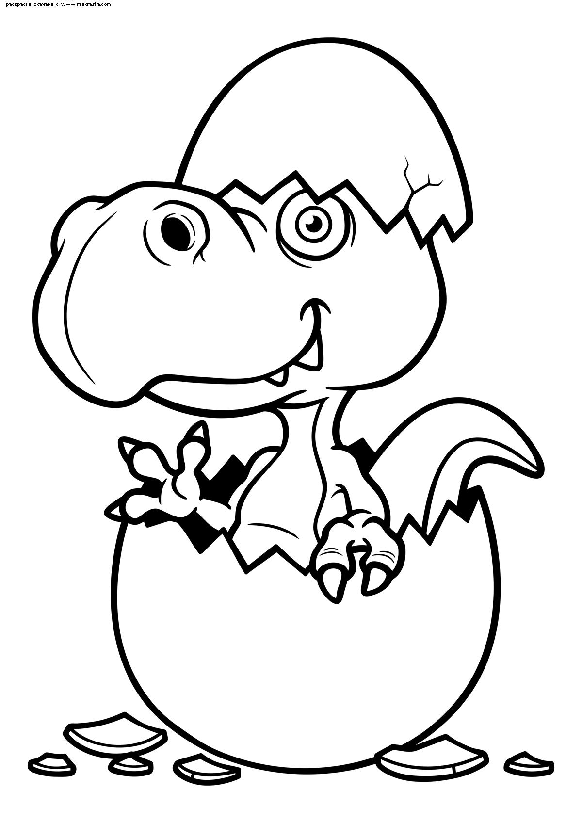 Раскраска Тиранозавр вылупился из яйца. Раскраска динозавр