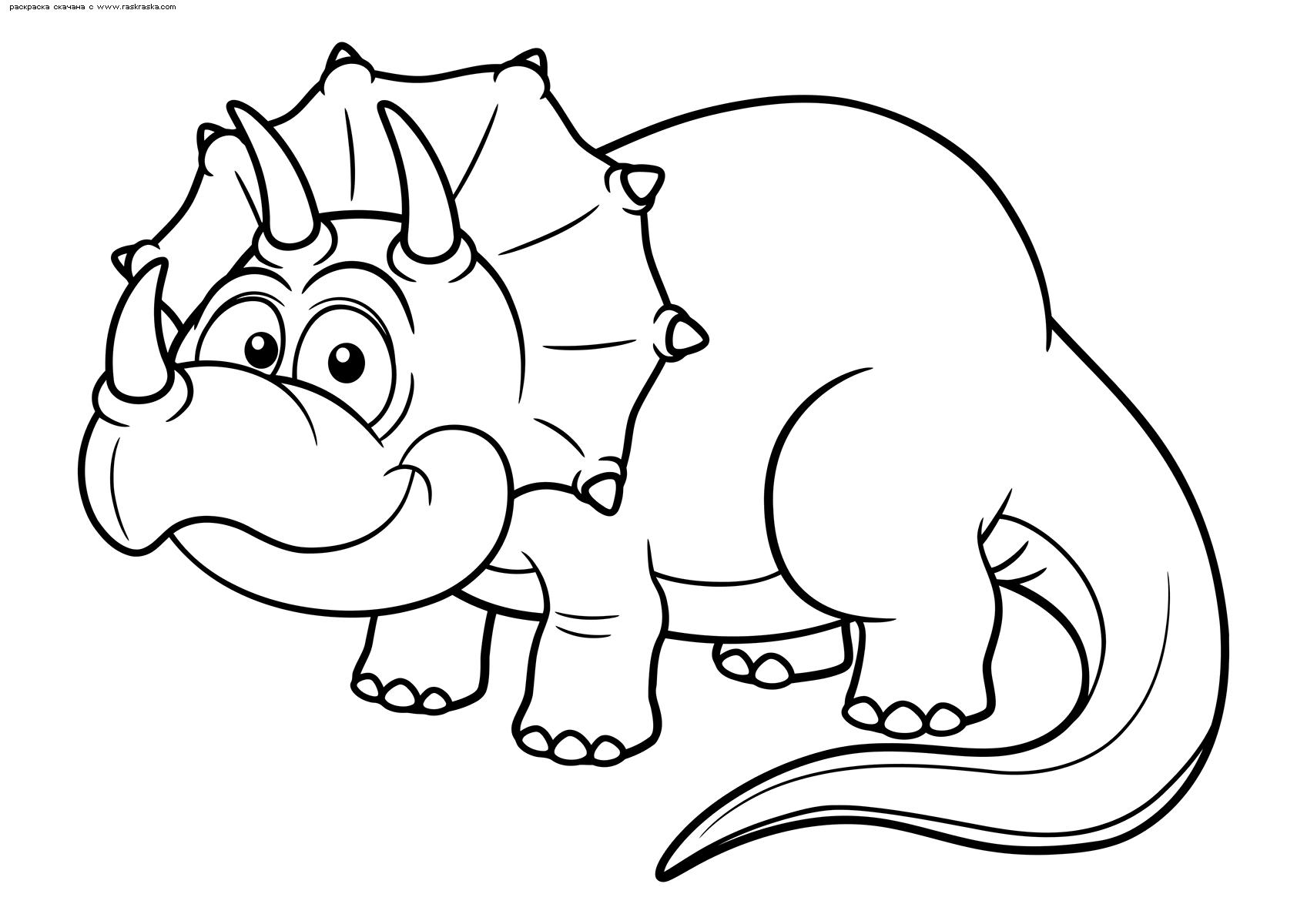 Раскраска Взрослый трицератопс. Раскраска динозавр
