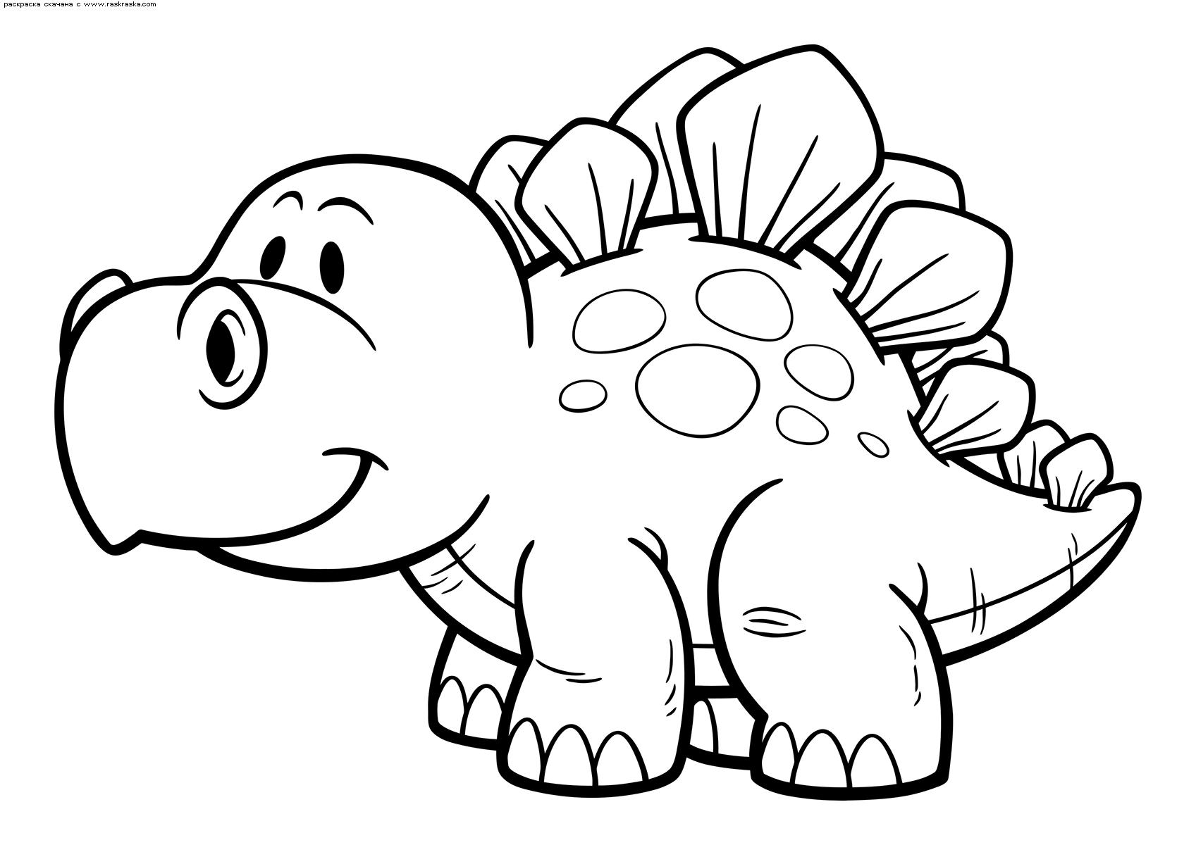 Раскраска Малыш стегозавр | Раскраски с динозавриками для ...