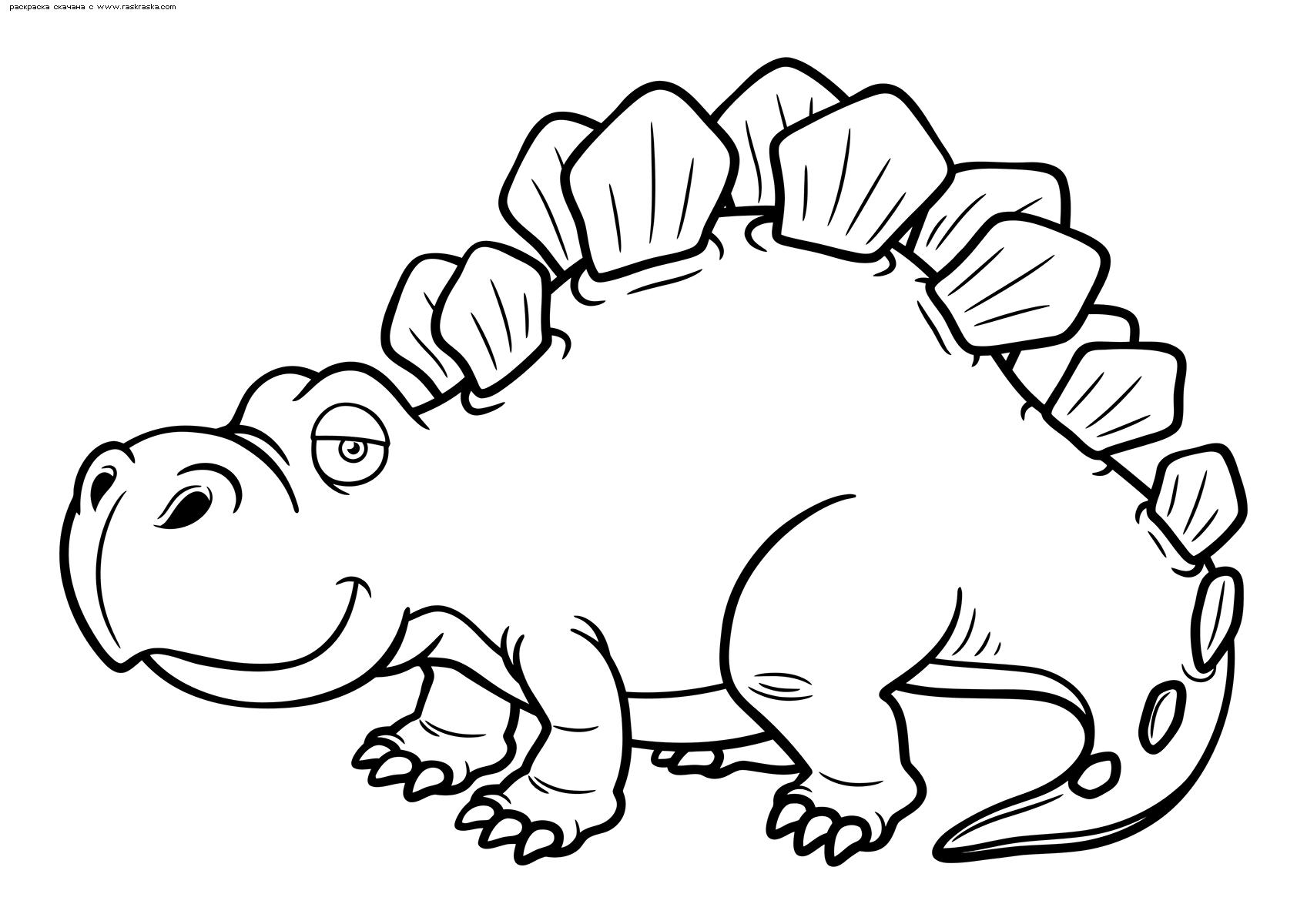 Раскраска Взрослый стегозавр. Раскраска динозавр