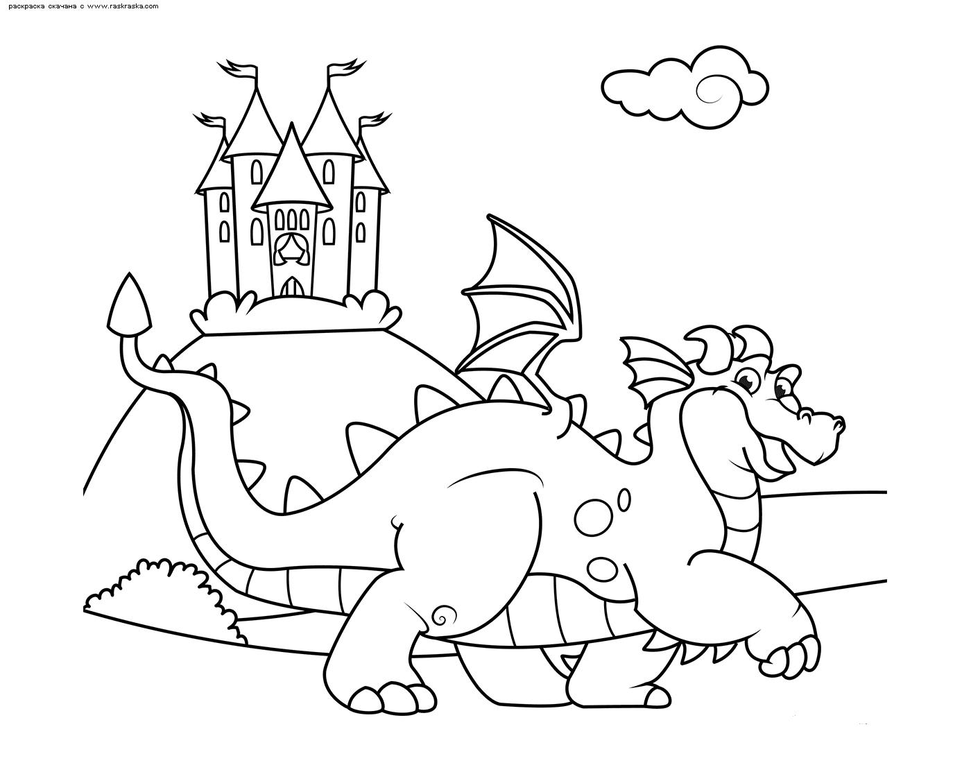 Раскраска Дракон охраняет замок | Раскраски с дракончиками ...