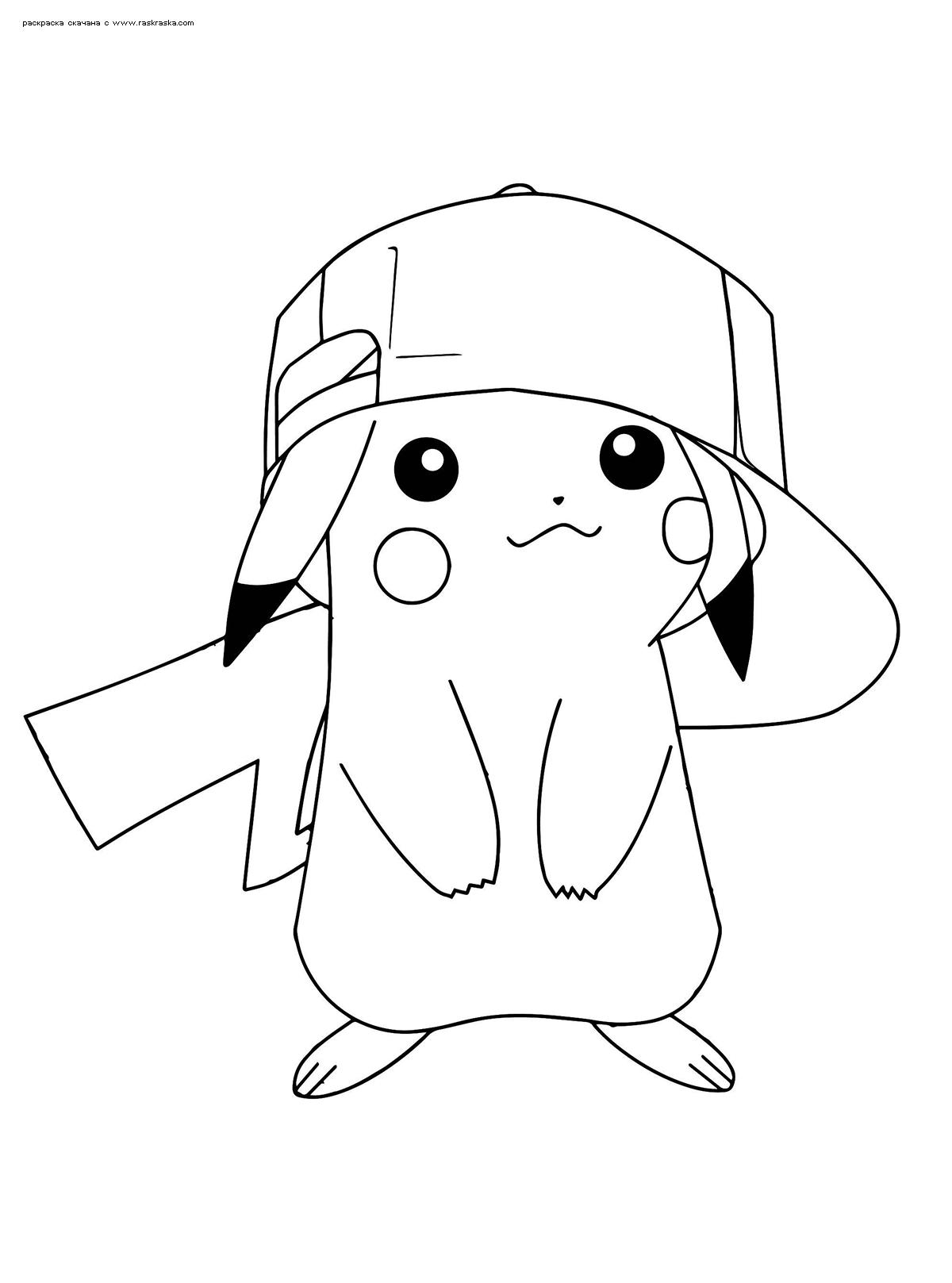 Раскраска Пикачу в бейсболке | Раскраски Пикачу (Pikachu)