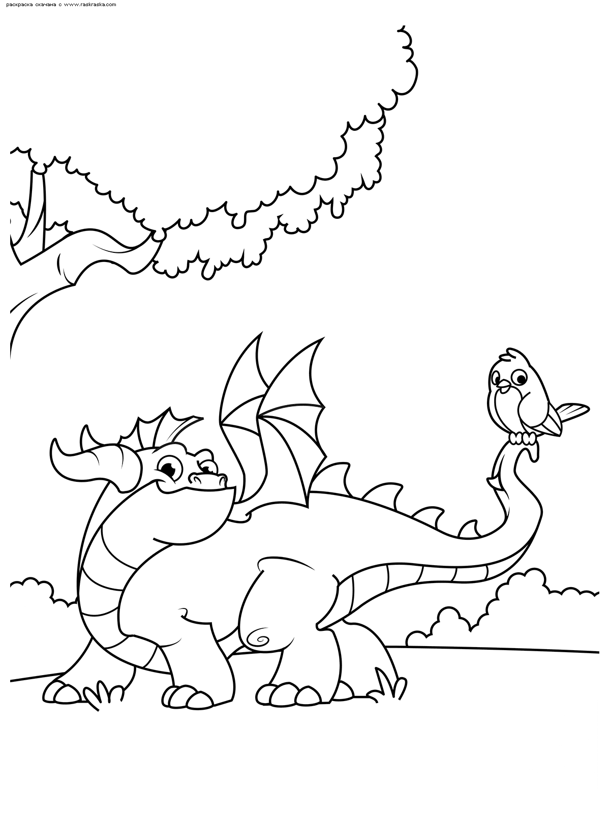 Раскраска Дракон на прогулке | Раскраски с дракончиками ...