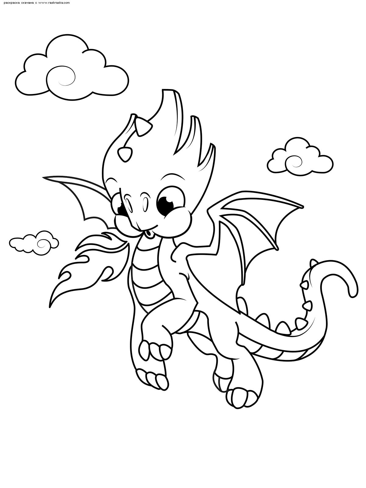 Раскраска Милый дракончик | Раскраски с дракончиками для детей