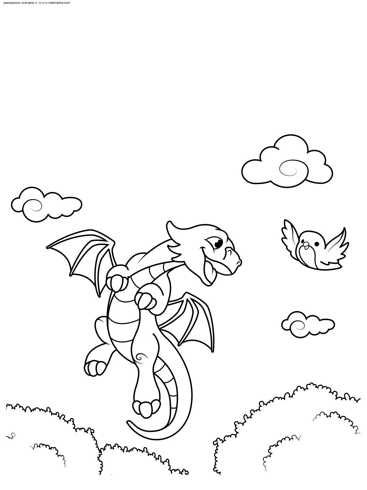 Раскраска Дракончик любит летать | Раскраски с ...