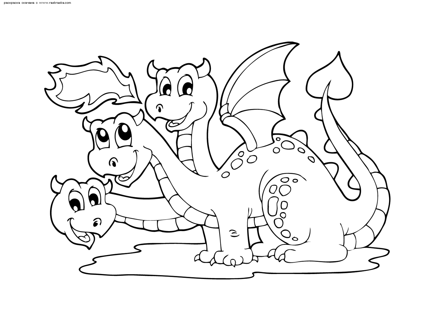 Раскраска Трехголовый дракон. Раскраска дракон, змей горыныч
