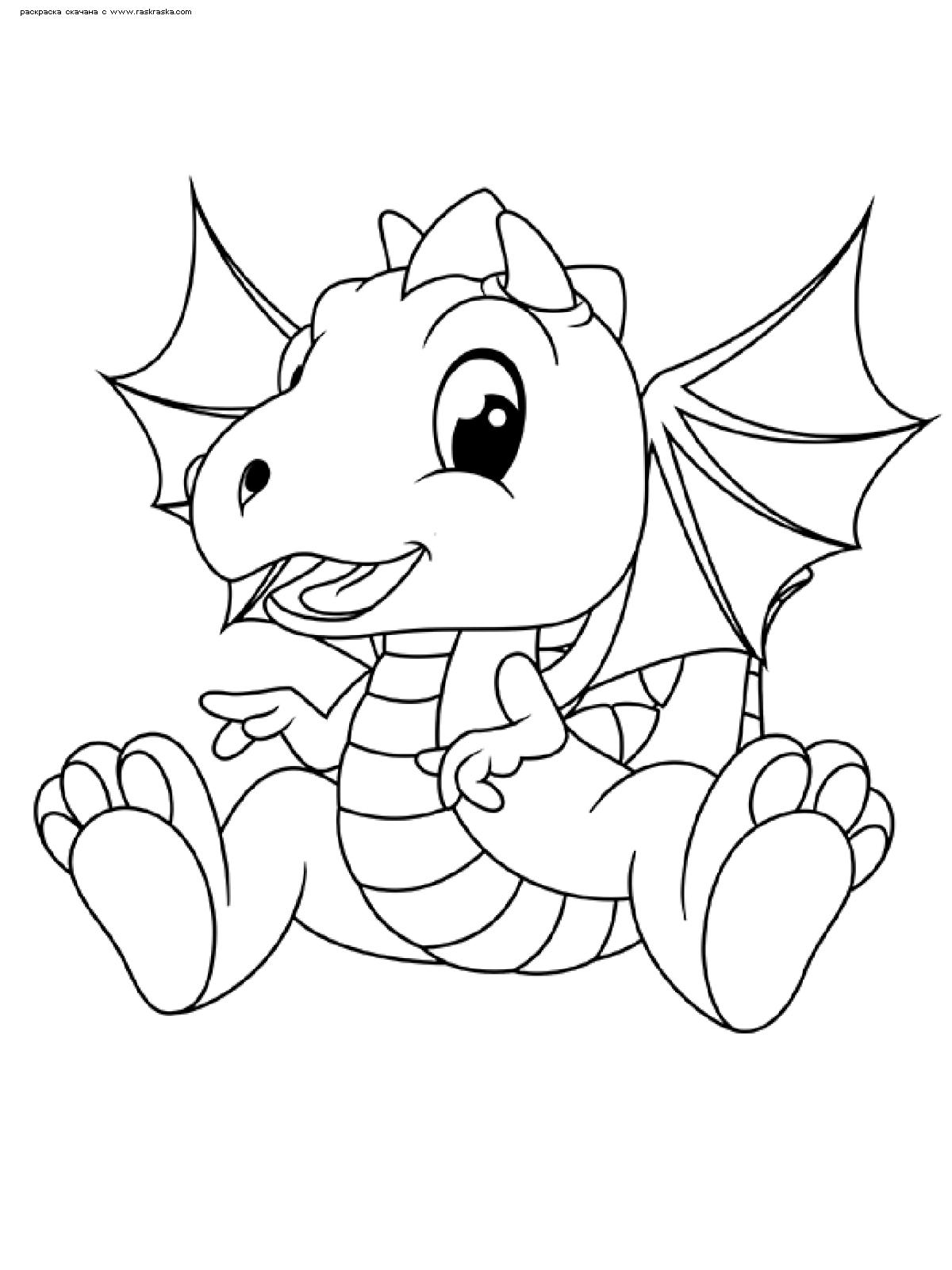 Раскраска Дракончик | Раскраски с дракончиками для детей