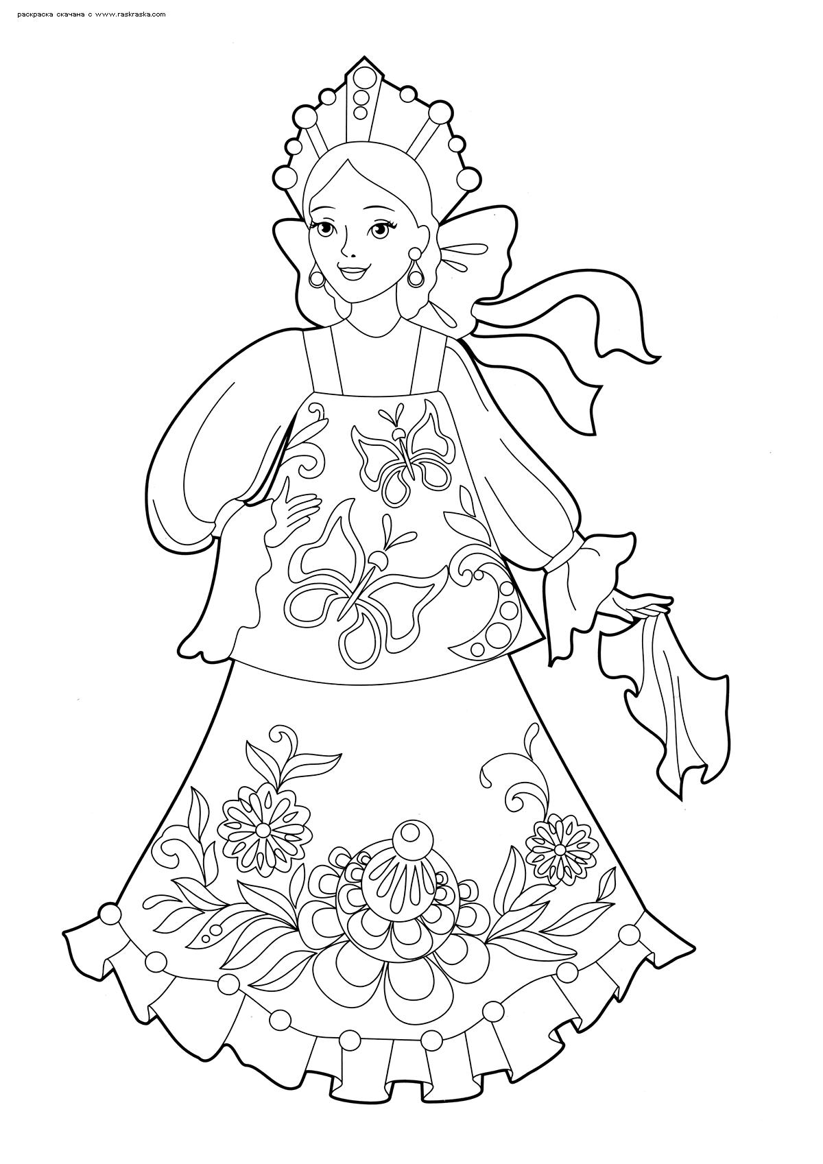 Раскраска Девушка в русском наряде. Раскраска девушка, красавица
