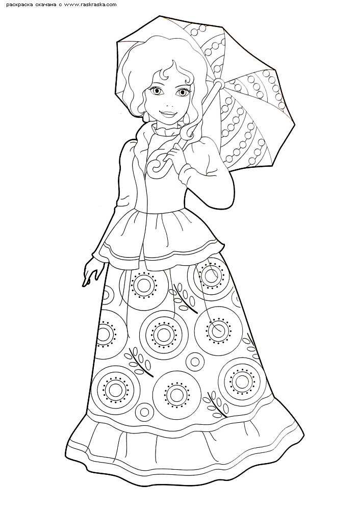 Раскраска Красавица с зонтиком. Раскраска красавица, девушка