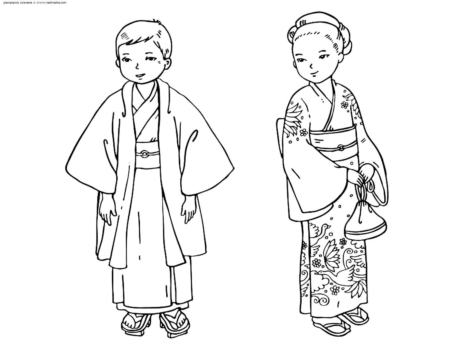 Раскраска Японские дети. Раскраска япония, традиции
