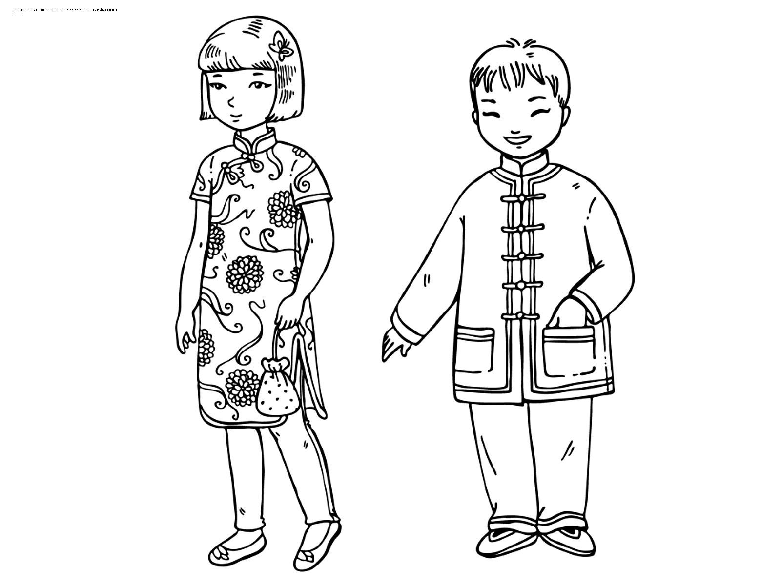 Раскраска Китайские дети. Раскраска китай, традиции