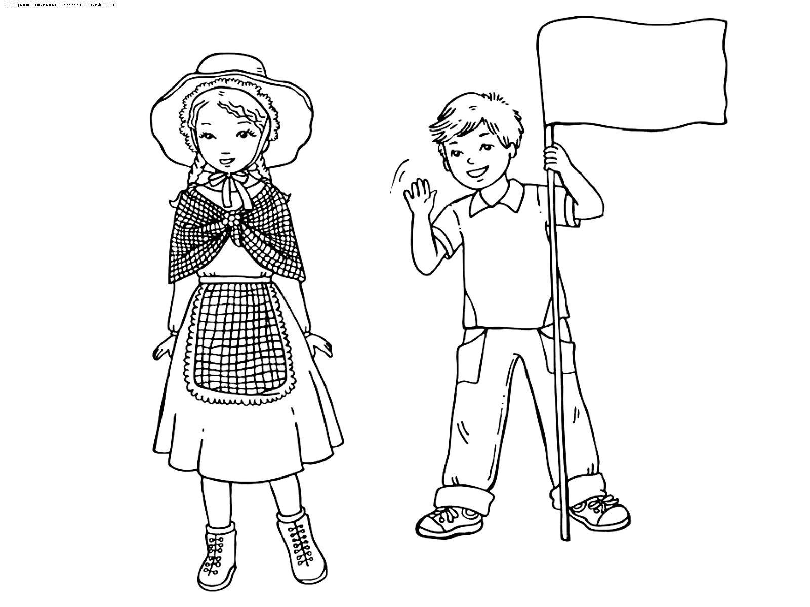 Раскраска Английские дети. Раскраска англия