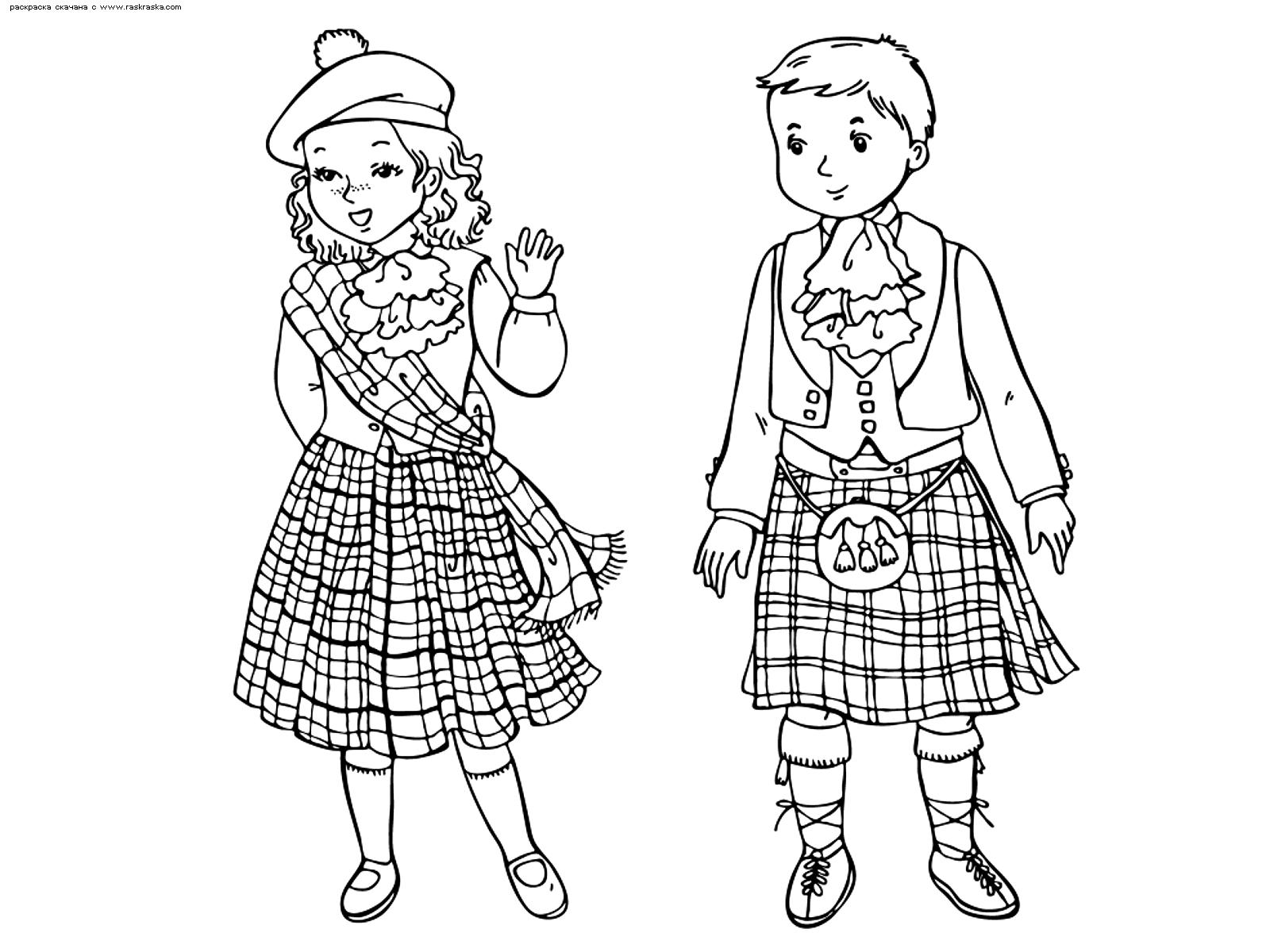 Раскраска Шотландские дети. Раскраска шотландия