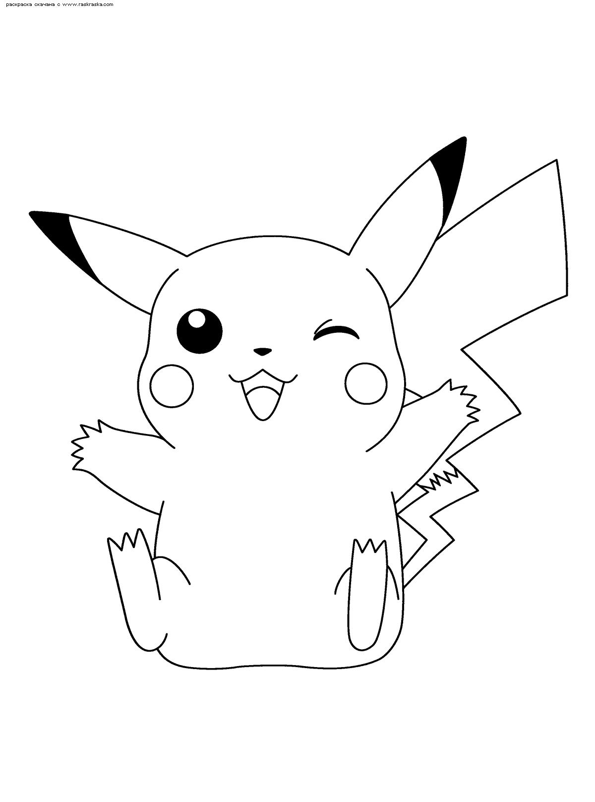 Раскраска Пикачу подмигивает | Раскраски Пикачу (Pikachu)