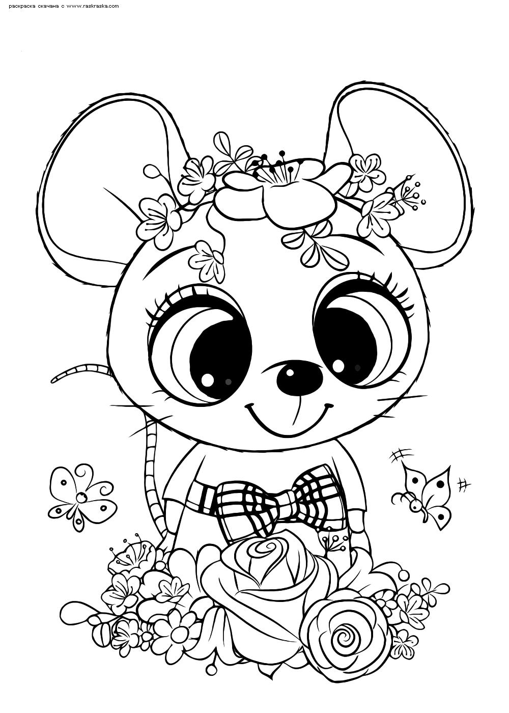 Раскраска Мышка   Раскраски няшных животных. Милые рисунки ...