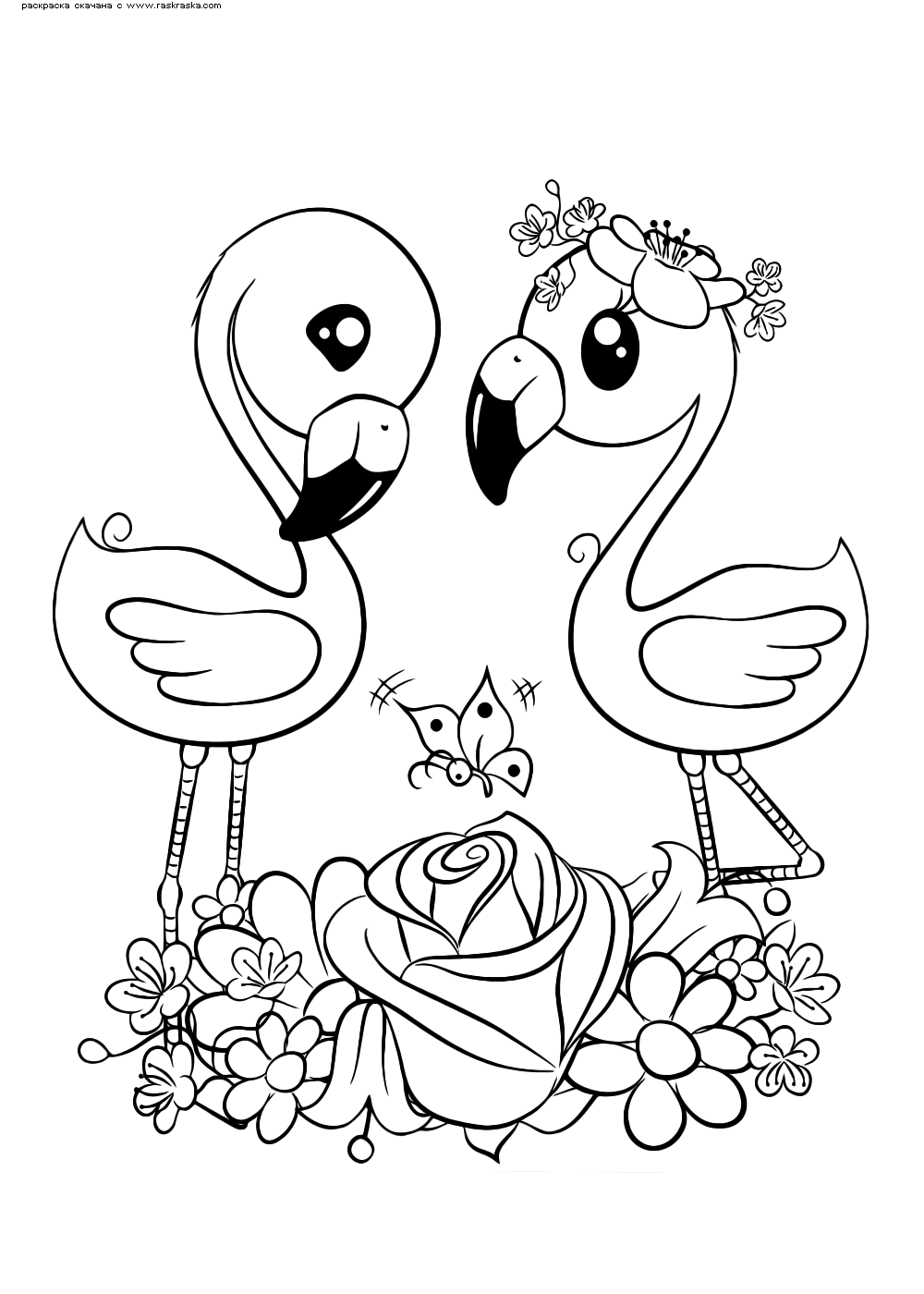 Раскраска Фламинго | Раскраски няшных животных. Милые ...