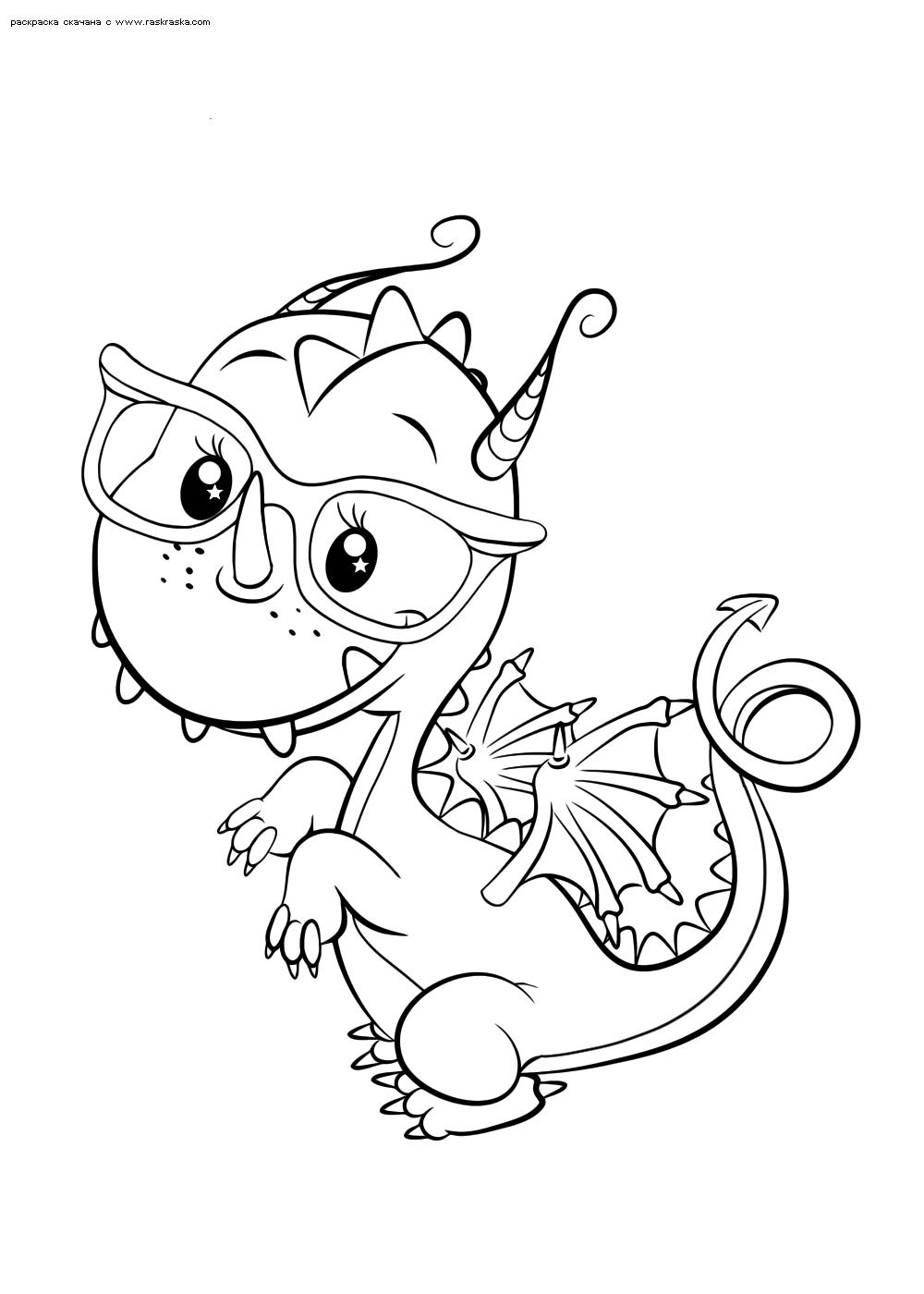 Раскраска Милый дракончик | Раскраски няшных животных ...