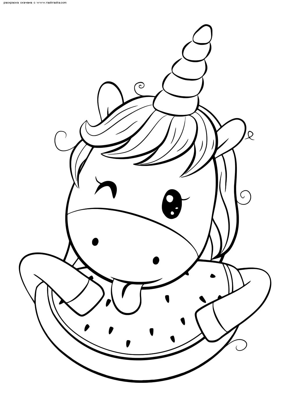 Раскраска Единорожка с арбузом | Раскраски няшных животных ...