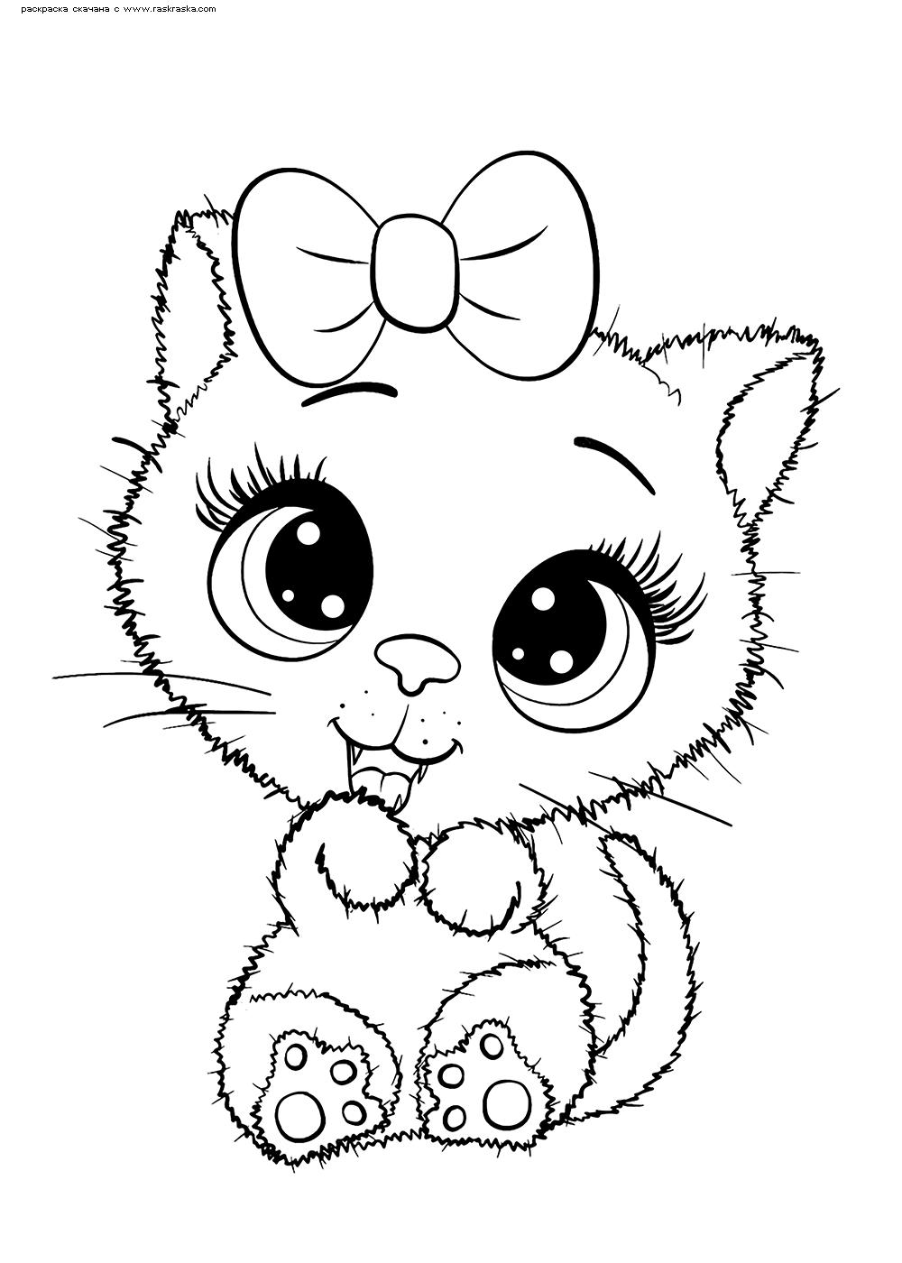 Раскраска Милая кошечка | Раскраски няшных животных. Милые ...