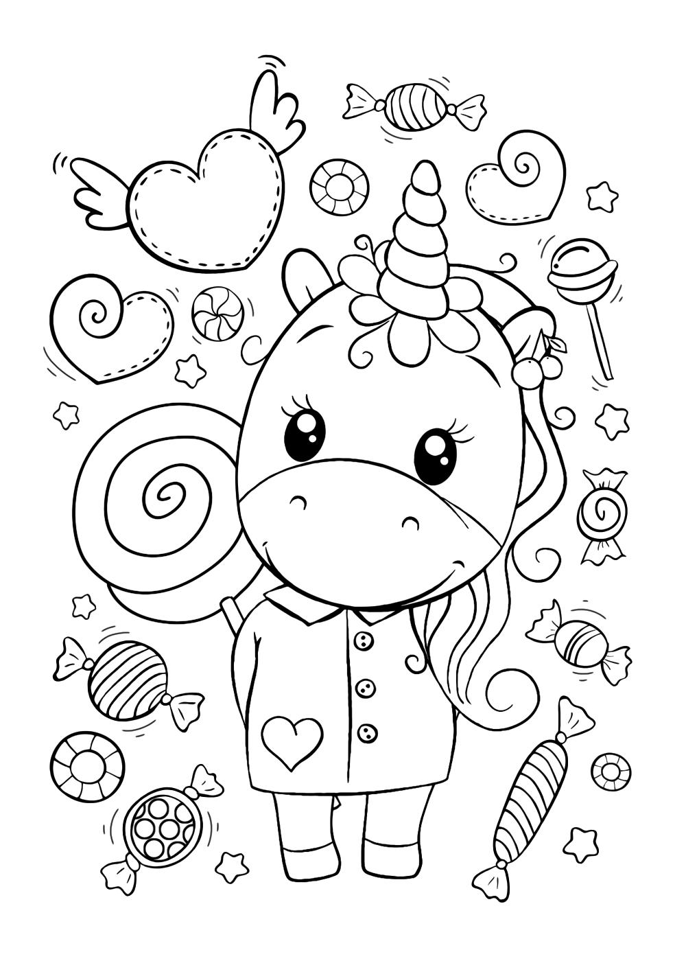 Раскраска Единорог | Раскраски няшных животных. Милые ...