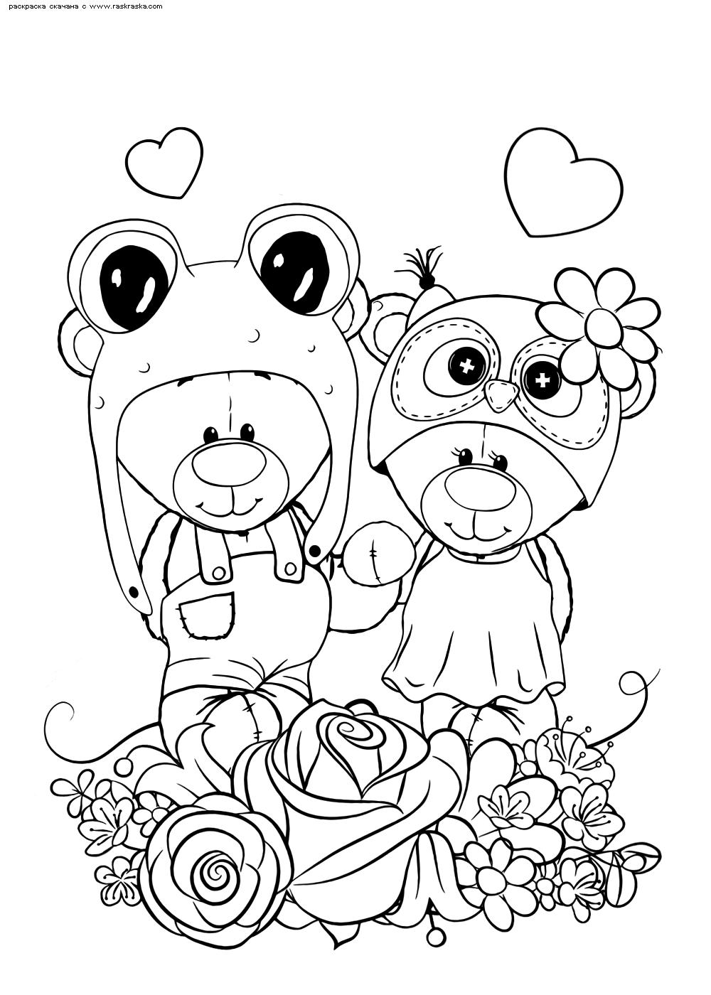 Раскраска Медвежата   Раскраски няшных животных. Милые ...