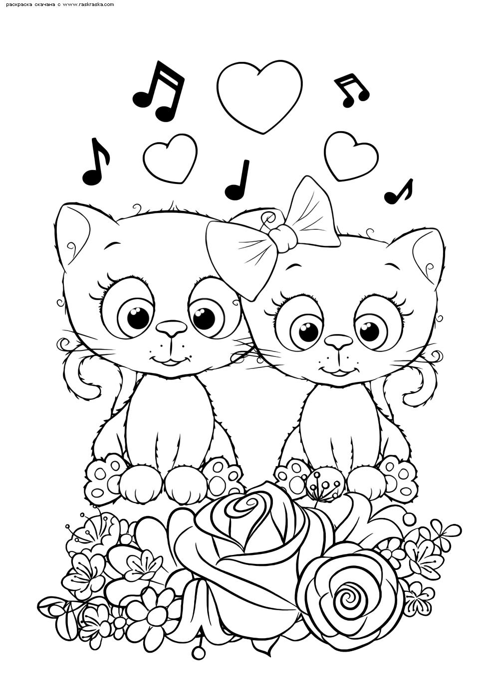Раскраска Котята | Раскраски няшных животных. Милые ...