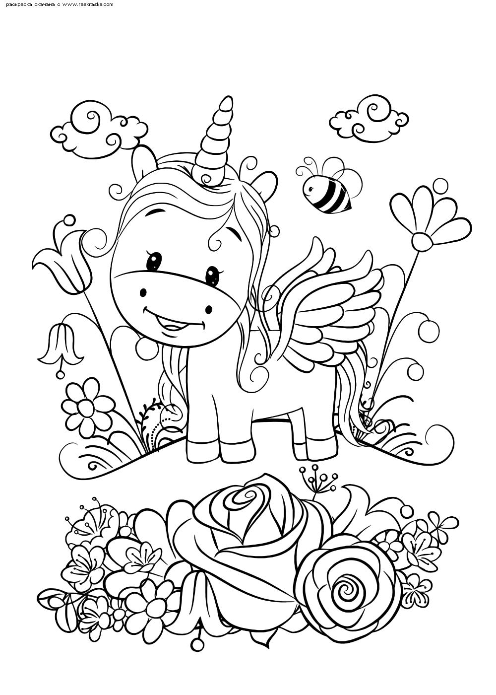 Раскраска Единорожек на поляне | Раскраски няшных животных ...