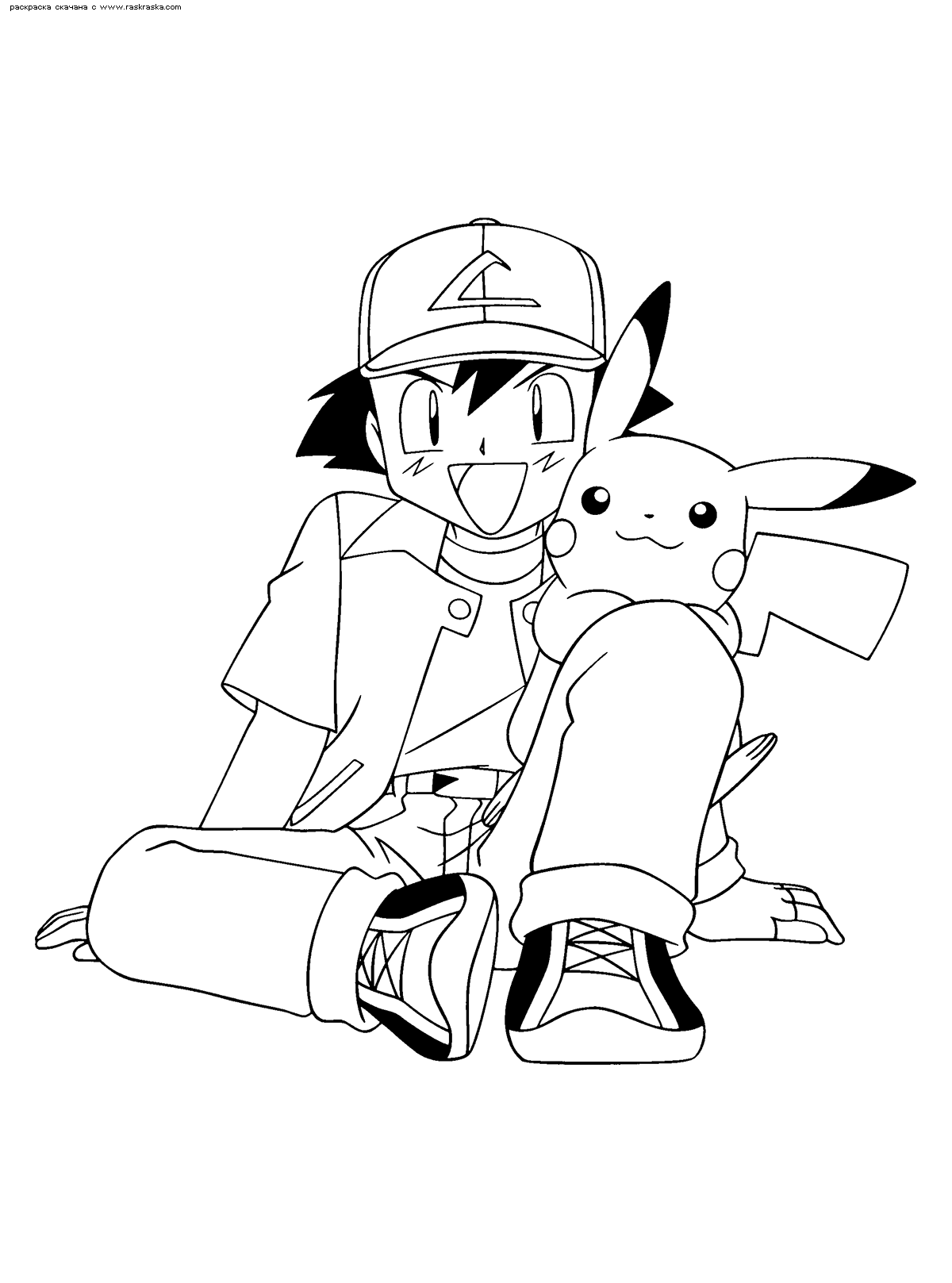 Раскраска Эш и Пикачу | Раскраски Пикачу (Pikachu)