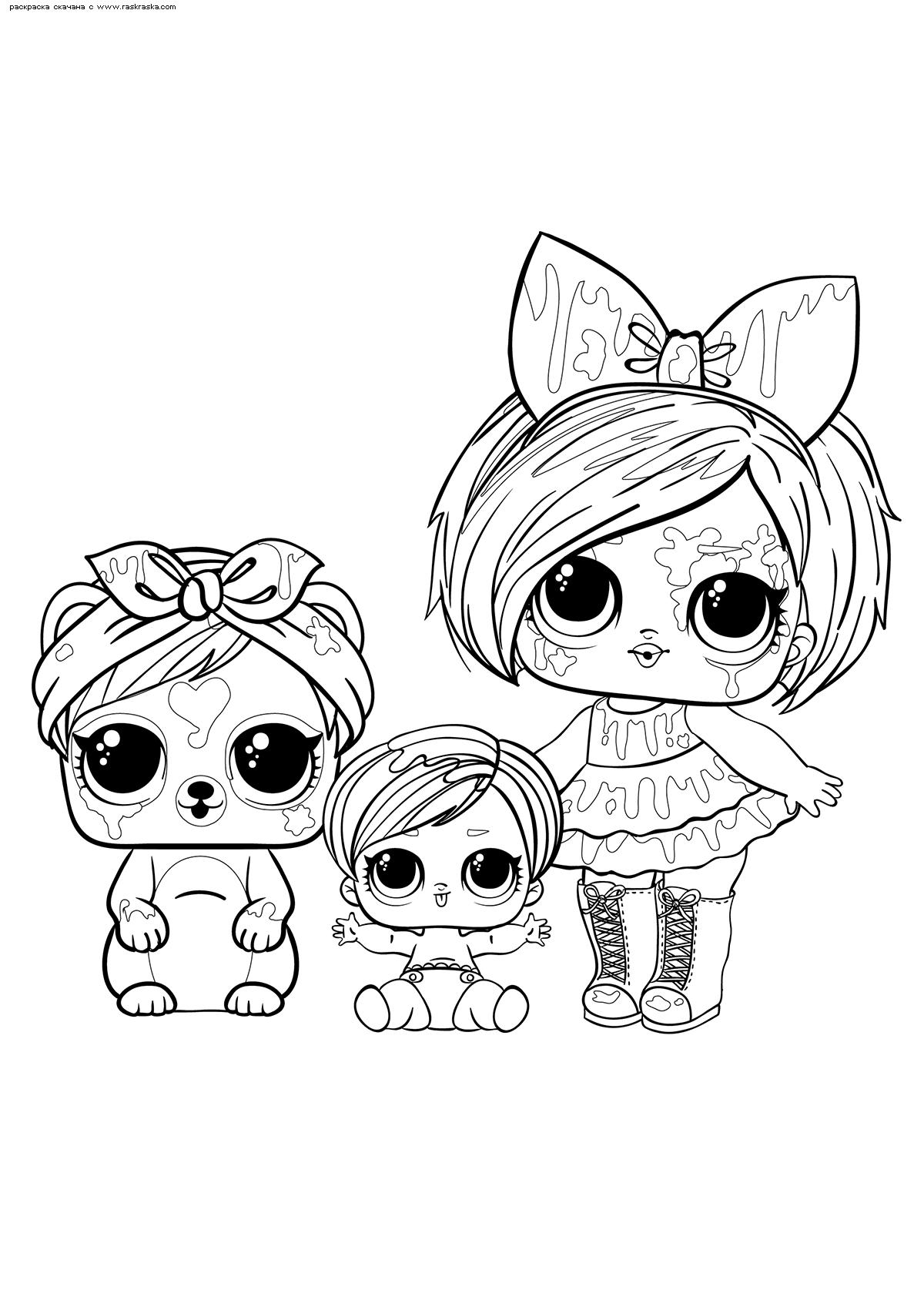 Раскраска ЛОЛ Брызги с малышкой и питомцем. Раскраска лол