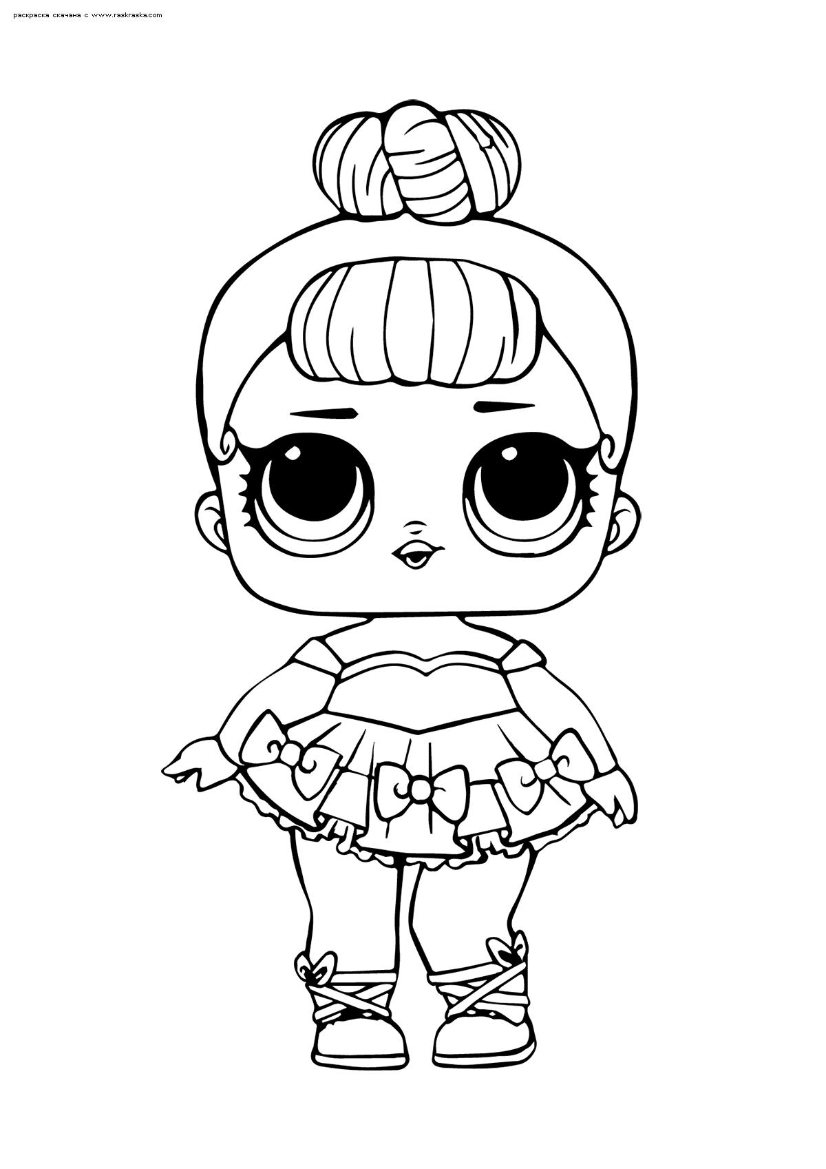 Раскраска ЛОЛ Miss Baby Glitter (Мисс Бэби) серия Блестящие. Раскраска лол