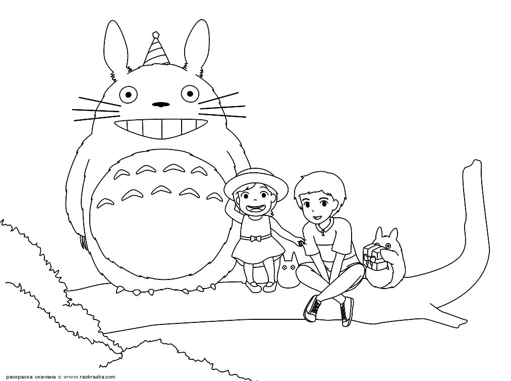 Раскраска Тоторо и дети. Раскраска