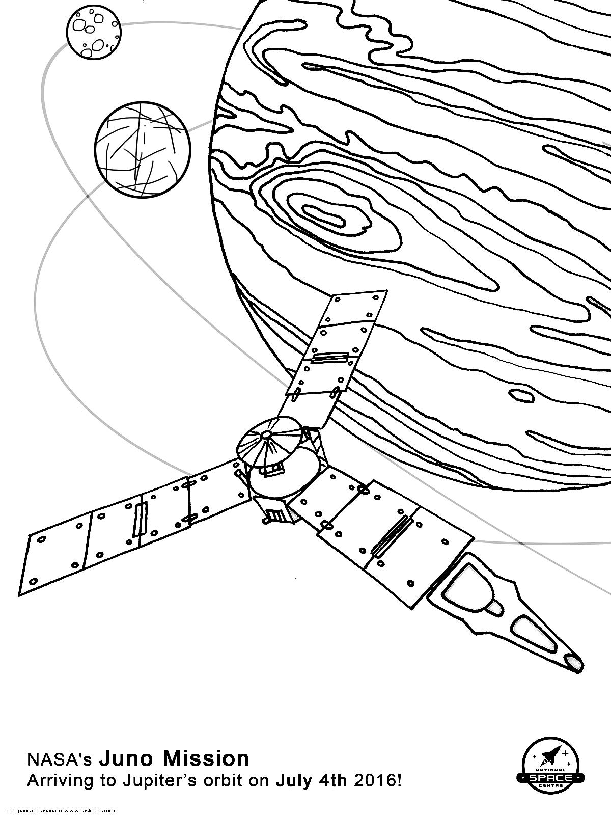 Раскраска Прибытие на орбиту Юпитера. Раскраска космос